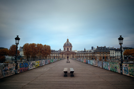 history architecture: Pont des Arts and River Seine in Paris, France.