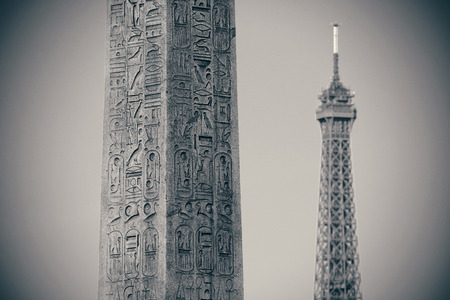 concorde: Luxor Egyptian Obelisk with Eiffel Tower at the center of Place de la Concorde