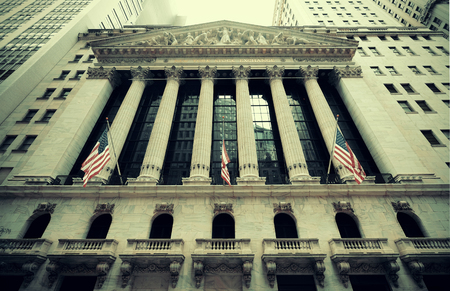 new york stock exchange: NEW YORK CITY - SEP 5: New York Stock Exchange closeup on September 5, 2014 in Manhattan, New York City. It is the worlds largest stock exchange by market capitalization of its listed companies. Stock Photo