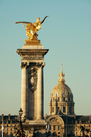 Alexandre III bridge and Napoleans tomb in Paris, France.