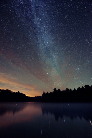 america countryside: Milky Way over lake in Stowe, Vermont.