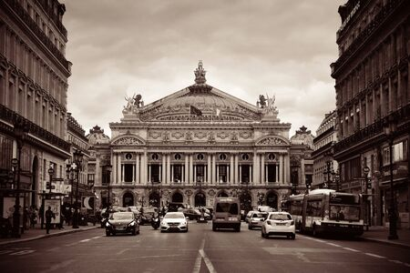 Paris Opera with street as the city famous tourism attraction and landmark.