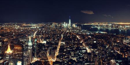 5th: New York City downtown skyline panorama night view.