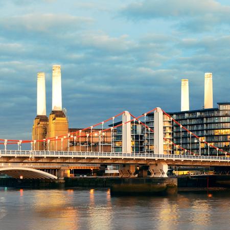 Battersea Power Station over Thames river as the famous London landmark. Stock Photo