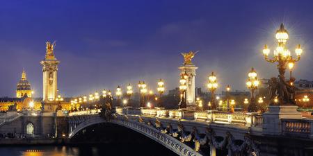 napoleon iii: Alexandre III bridge night view panorama with Napoleons tomb in Paris, France.