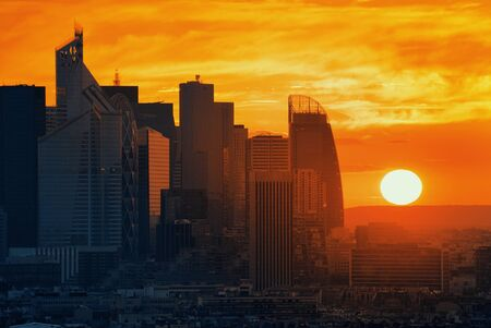 la defense: Paris sunset rooftop sunset view of the city skyline with la Defense business district in France.