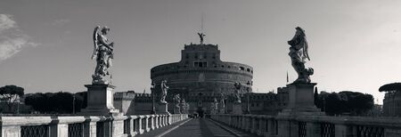 angelo: Castel Sant Angelo as the famous travel destination in Rome Italy panorama in monochrome Stock Photo