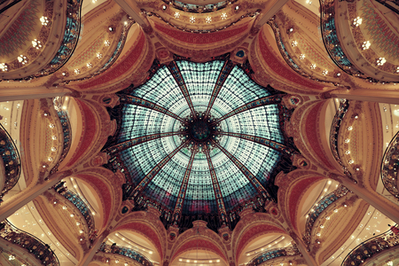 recorded: PARIS, FRANCE - MAY 13: Galeries Lafayette interior view on May 13, 2015 Designed by architect Georges Chedanne and as the famous department store, it recorded earnings of over 1 billion euro in 2009