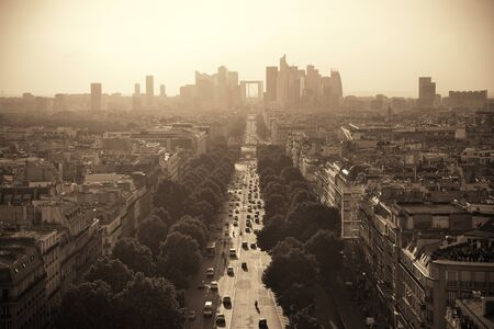 business district: Paris rooftop view of the city skyline with la Defense business district in France. Stock Photo