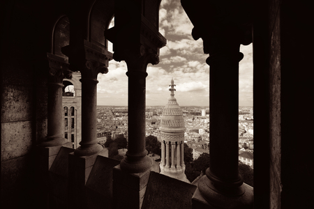 sacre: View from top of Sacre Coeur Cathedral in Paris, France. Stock Photo
