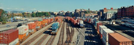 railway transport: VANCOUVER, BC - AUG 17: Cargo train with containers on August 17, 2015 in Vancouver, Canada. With 603k population, it is one of the most ethnically diverse cities in Canada.
