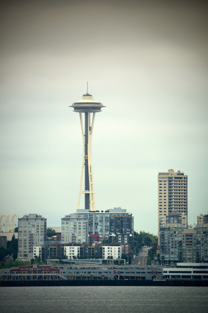 space needle: SEATTLE, WA - AUG 14: Space Needle at waterfront on August 14, 2015 in Seattle. Seattle is the largest city in both the State of Washington and the Pacific Northwest region of North America