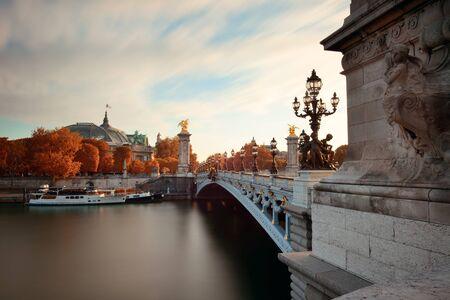 iii: Alexandre III bridge and River Seine in Paris, France.