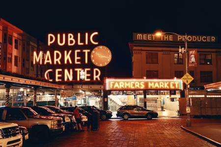 public market: SEATTLE, WA - AUG 14: Public Market Center in downtown on August 14, 2015 in Seattle. Seattle is the largest city in both the State of Washington and the Pacific Northwest region of North America