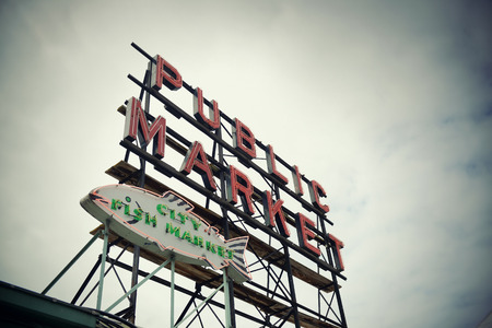 public market sign: SEATTLE, WA - AUG 14: Public Market sign in downtown on August 14, 2015 in Seattle. Seattle is the largest city in both the State of Washington and the Pacific Northwest region of North America Editorial
