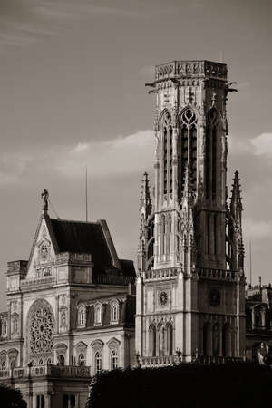 french renaissance: Church of Saint-Germain lAuxerrois at sunset in Paris, France