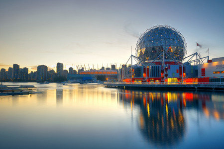 ethnically diverse: VANCOUVER, BC - AUG 17: Science World waterfront of False Creek on August 17, 2015 in Vancouver, Canada. With 603k population, it is one of the most ethnically diverse cities in Canada.