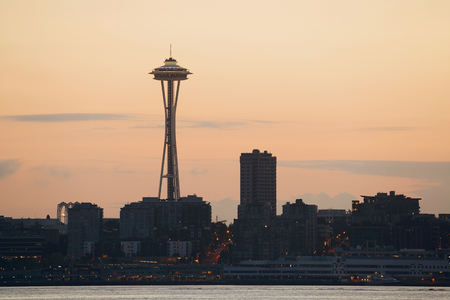 space needle: SEATTLE, WA - AUG 14: Space Needle at sunrise on August 14, 2015 in Seattle. Seattle is the largest city in both the State of Washington and the Pacific Northwest region of North America Editorial