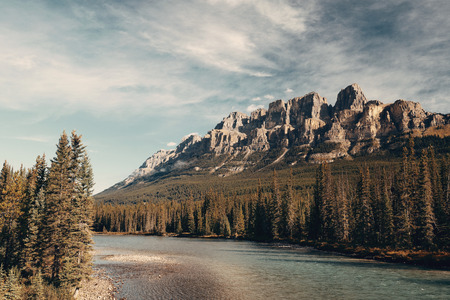 banff national park: Mountain with creek in Banff National Park in Canada