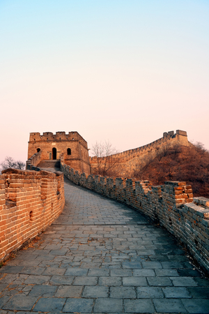 mutianyu: Great Wall sunset over mountains in Beijing, China.