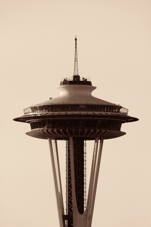 space needle: SEATTLE, WA - AUG 14: Space Needle closeup on August 14, 2015 in Seattle. Seattle is the largest city in both the State of Washington and the Pacific Northwest region of North America