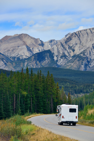 Road trip in Banff National Park in Canada with snow capped mountain