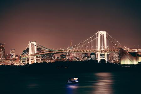 rainbow bridge: Tokyo bay with rainbow bridge in Japan.