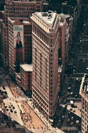 burnham: NEW YORK CITY, NY - MAR 30: Flatiron Building rooftop view on March 30, 2014 in New York City. Flatiron building designed by Chicagos Daniel Burnham was designated a New York City landmark in 1966. Editorial
