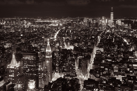 fifth avenue: New York City downtown skyline view at night.