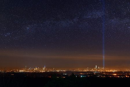 milkyway: New York City skyline at night with star milkyway and September 11 tribute light