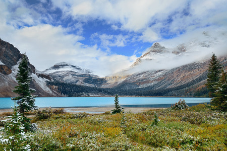snow capped mountain: Bow Lake with snow capped mountain and forest in Banff National Park Stock Photo