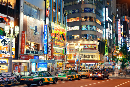 TOKYO, JAPAN - MAY 13: Shinjuku Street view at night on May 13, 2013 in Tokyo. Tokyo is the capital of Japan and the most populous metropolitan area in the world Editorial
