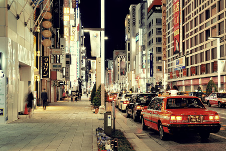 populous: TOKYO, JAPAN - MAY 13: Ginza street view at night on May 13, 2013 in Tokyo. Tokyo is the capital of Japan and the most populous metropolitan area in the world