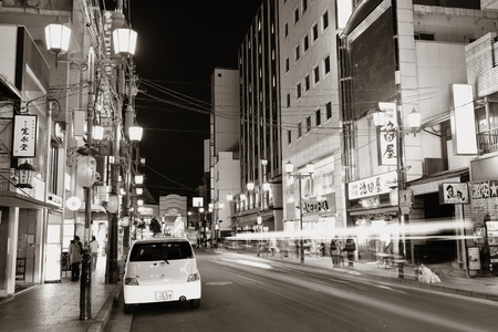 former years: KYOTO, JAPAN - MAY 18: Street night view on May 18, 2013 in Kyoto. Former imperial capital of Japan for more than one thousand years, it has the name of City of Ten Thousand Shrines.