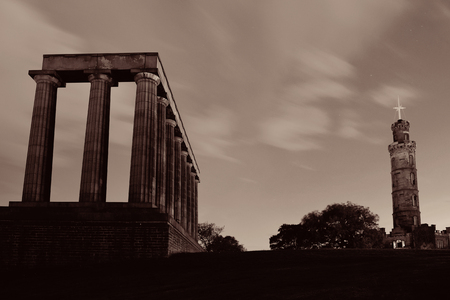 nelson: Calton Hill with Nelson monument in Edinburgh, United Kingdom.