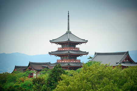 history architecture: Pagoda tower in Jishu Jinja Shrine in Kyoto, Japan.