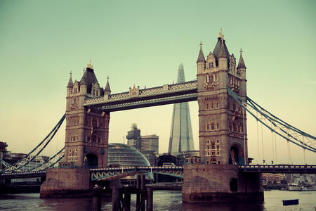 Tower Bridge over Thames River in London. Stock Photo