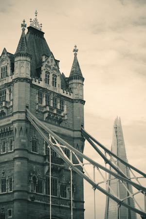Tower Bridge closeup view in London. Stock Photo