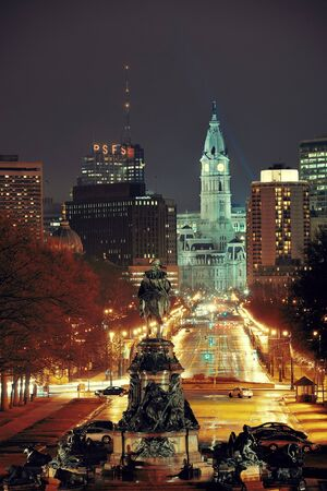 monument historical monument: PHILADELPHIA, PENNSYLVANIA - MAR 26: City street view with urban buildings on March 26, 2015 in Philadelphia. It is the largest city in Pennsylvania and the fifth in the United States.