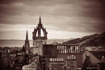 kirk: Edinburgh St Giles Cathedral and rooftop view. United Kingdom. Stock Photo