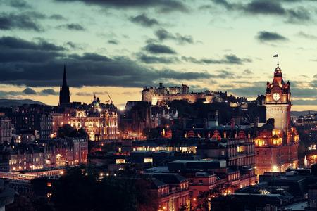 city night: Edinburgh city view at night in UK.