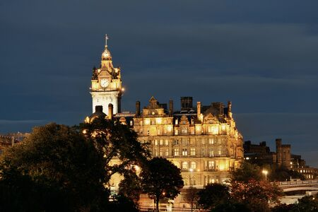 bell tower: Balmoral Hotel bell tower and Edinburgh city view at night.