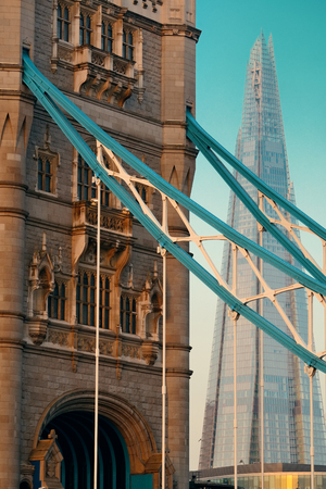 Tower Bridge with Shard as the city landmark.. Stock Photo
