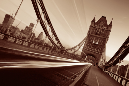 Tower Bridge and traffic in the morning in London.