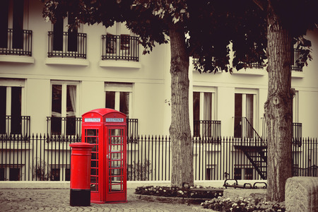 mail box: Red telephone booth and mail box in street in London as the famous icons.