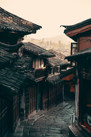 history architecture: Old street view in Lijiang, Yunnan, China.
