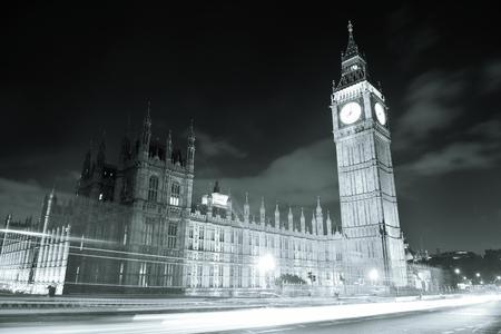 blackwhite: House of Parliament at night, London. Stock Photo