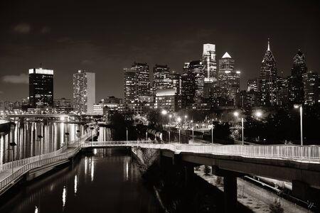 blackwhite: Philadelphia skyline at night with urban architecture.