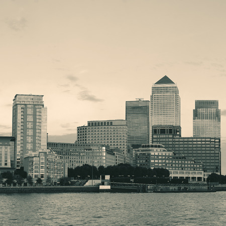 Canary Wharf business district in London black and white.
