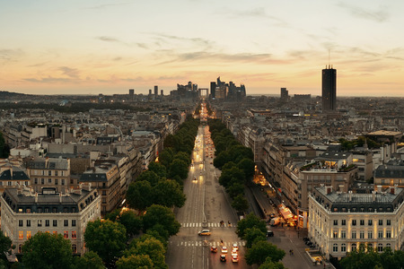 la defense: Paris sunset rooftop view of the city skyline with la Defense business district in France. Stock Photo